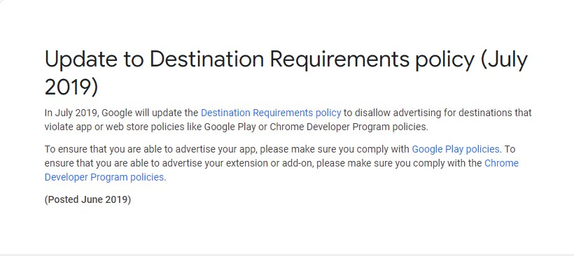 updated destination requirement policy