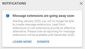 Google removed Message Extension